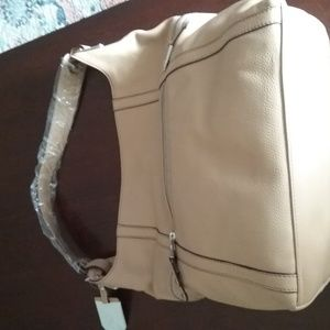 Pebble Leather Curved Zip Pocket Hobo Bag